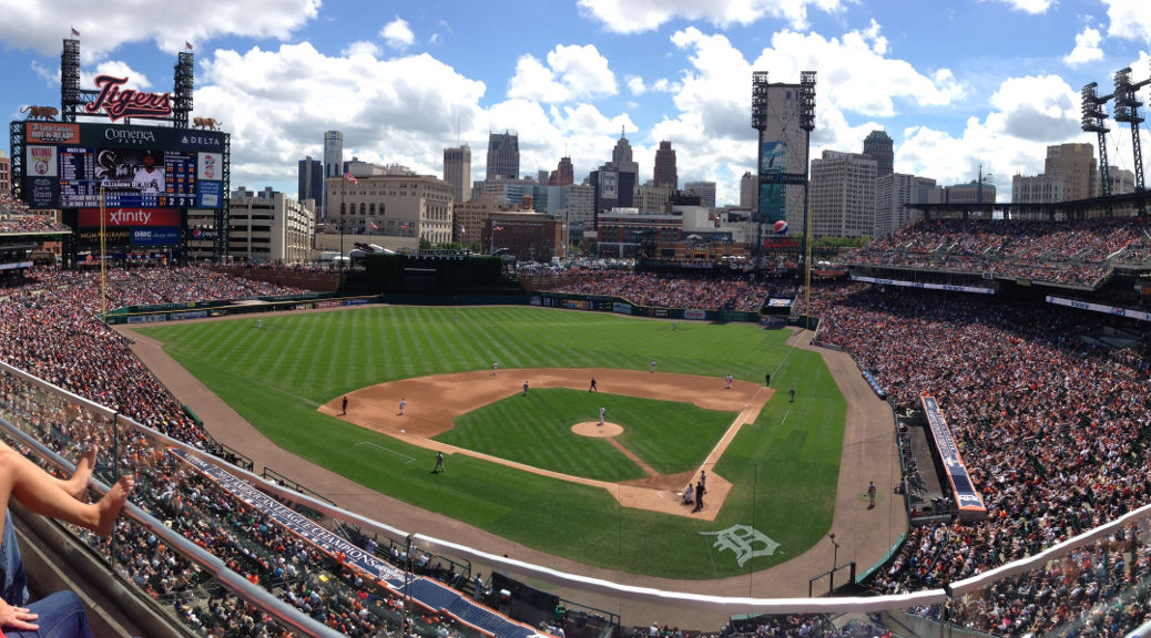 Comerica Park panorama by memories_by_mike. https://www.flickr.com/photos/memoriesbymike/9439274624.