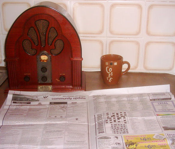 antique radio and coffee