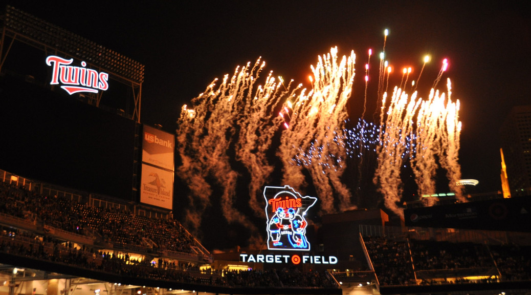 Target Field fireworks on July 2, 2010 by Matt Stratmoen. https://www.flickr.com/photos/stratmoen/4757451741.