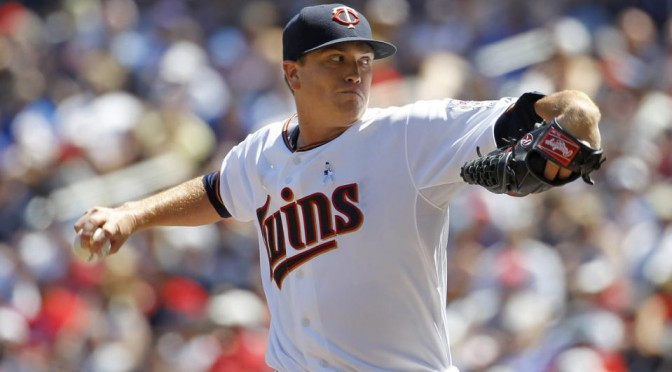 Minnesota Twins starting pitcher Kyle Gibson delivers to the Chicago Cubs during the fourth inning of a baseball game in Minneapolis, Sunday, June 21, 2015. (AP Photo/Ann Heisenfelt)