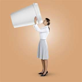 Businesswoman drinking from enormous coffee cup